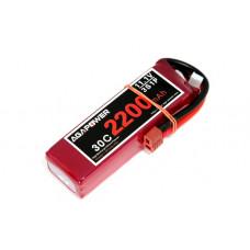Аккумулятор AGA POWER Li-Po 2200mAh 11.1V 3S 30C Softcase 26x34x105мм T-Plug